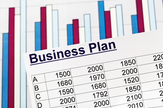 spreadsheet with business plan title on top