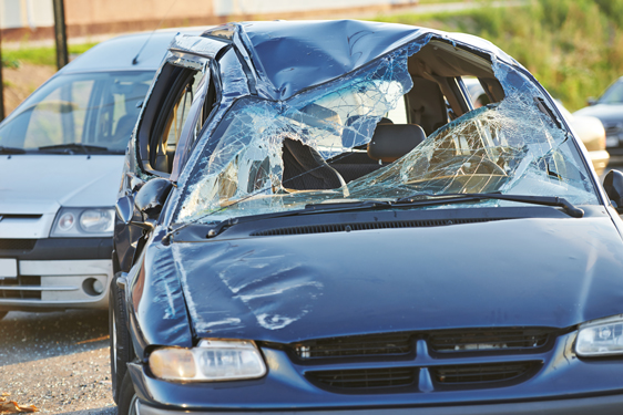 smashed car with broken windshield